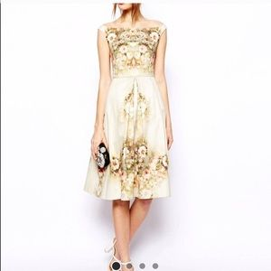 Reposh ASOS beige floral midi dress size 0